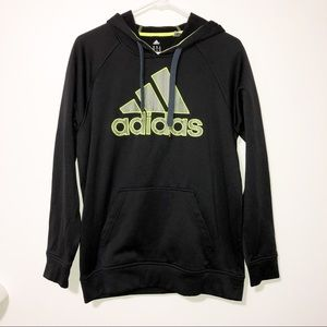 Adidas black with neon green logo hoodie medium